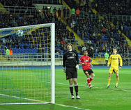 Metalist vs Metalurh Zaporizhya soccer match Royalty Free Stock Photos