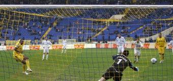 Metalist vs. Tavrya soccer match. KHARKIV, UKRAINE - APRIL 3: Jackson Coelho's (L) goal during FC Metalist (Kharkiv) vs. FC Tavrya (Simferopol) (1:1) soccer Royalty Free Stock Photos