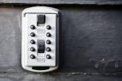 Metalläußeres Lockbox stockfoto