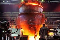 Metall从火炉发火花 库存照片