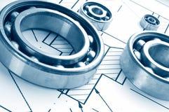 Metall Ball bearings. Industrial design stock image