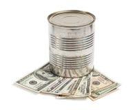 Metall barrel and money Royalty Free Stock Photos