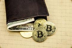Metall-bitcoins in der braunen ledernen Geldbörse Bitcoin - modernes virtuelles Abbildung 3D Lizenzfreie Stockbilder