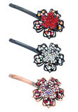 Metall bright hairpins on a white background Stock Images