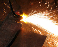 Metall cutting with acetylene welding Stock Photo