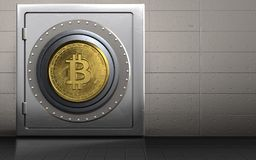 Metall3d sicheres bitcoin Safe Lizenzfreie Stockfotos