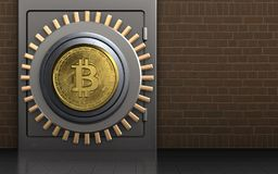 Metall3d sicheres bitcoin Safe Lizenzfreies Stockfoto