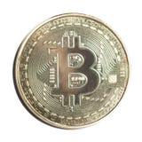Metall della moneta di oro del bitcoin di Frontview Fotografia Stock Libera da Diritti