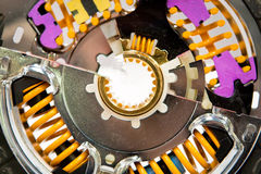 Metall disk of car clutch with color details Royalty Free Stock Image