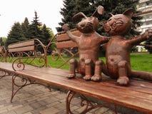 Metall iron cat dog art sculpture artwork. Metall dog cat sculpture artwork stock photography