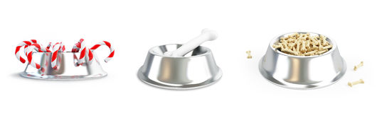 Metall dog dish and bone set on a white background Royalty Free Stock Photo