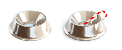 Metall dog dish on a white background Stock Photography