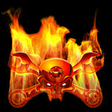 Metall Jolly Roger In Flame Royalty Free Stock Images
