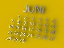 Metall Juni Calenders 3D auf gelbem Hintergrund Lizenzfreie Stockfotografie