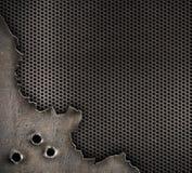 Metall mit Einschusslochhintergrund Lizenzfreie Stockfotos