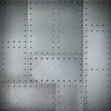 Metall mit Nieten Stahlhintergrund oder Beschaffenheit stockfoto