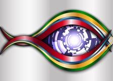 Metall och den purpurfärgade Digital ögonroboten gör sammandrag bakgrund Arkivbild