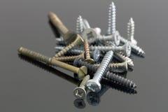 Metall och mässingsskruvar Royaltyfri Fotografi