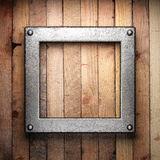 Metall på wood bakgrund stock illustrationer