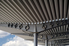 Metall roof. Metal gray sheet roof construction background Royalty Free Stock Images