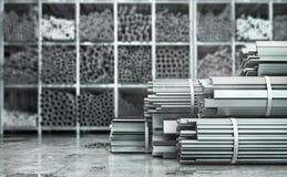 Metall rullade - produkter på en suddig bakgrund vektor illustrationer