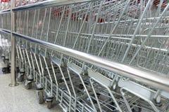 Metall shoppar upp vagnssupermarketslut Royaltyfria Bilder
