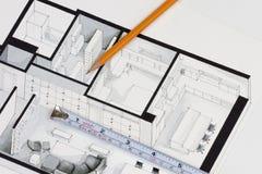 Metall som mäter bandet, och den skarpa blyertspennan på autentiskt konstnärligt inspirerande hem för golvplan fragmenterar att s vektor illustrationer