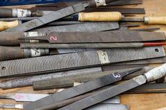 Metall/Stahlraspeln und -dateien Stockfotos