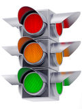 Metall traffic lights on white background. 3d traffic lights with red,yellow and green light Stock Photo