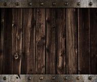 Metall und hölzerner mittelalterlicher Hintergrund Stockfotografie