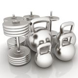 Metall weights and dumbbells Stock Image