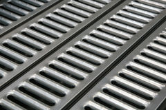 Metallabwasserkanäle Stockfoto