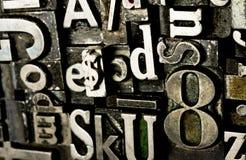 Metallart Druckmaschine gesetzter veralteter Typografie-Text Stockfoto