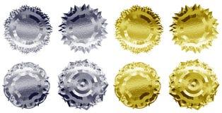 Metallausweise oder -medaillen Stockfotos