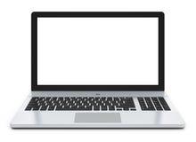 Metallbärbar dator med den blanka skärmen Fotografering för Bildbyråer
