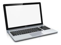 Metallbärbar dator med den blanka skärmen Arkivfoton