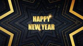 Metallbakgrund för lyckligt nytt år med guld- dammsamkopieringstextur stock illustrationer