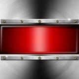 Metallbakgrund med den röda skärmen Arkivfoto