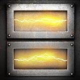 Metallbakgrund med elektrisk blixt Royaltyfria Bilder