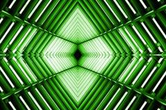 Metallbau ähnlich Raumschiffinnenraum im grünen Licht Stockfoto