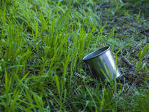 Metallbecher, der auf dem grünen Gras liegt Lizenzfreie Stockbilder