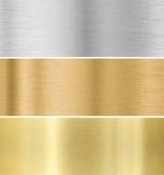 Metallbeschaffenheitshintergrund: Gold, Silber, Bronze Stockbild
