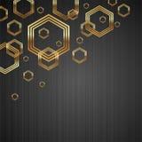 Metallbeschaffenheitshintergrund mit goldenen Hexagonen Stockfotografie