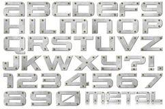 Metallbokstäver och nummer Arkivfoto