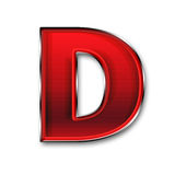 Metallbuchstabe D im Rot Stockfoto