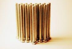_ Metallbultar En grupp av metallbultar Fixandeprodukt Sexhörningshuvudbult kernel Förhäxa huvudet Belägga med metall royaltyfria bilder