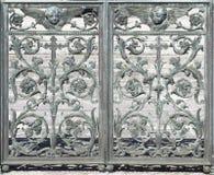 Metalldörrgarnering (den abstrakta naturbeståndsdelen) Arkivfoton