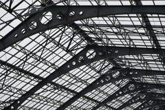 Metalldachbeschaffenheit Schließen Sie herauf hohes Dach der Ansichtstruktur Stockfoto