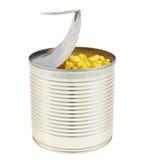 Metalldose voll Maiskerne lokalisiert Lizenzfreies Stockfoto
