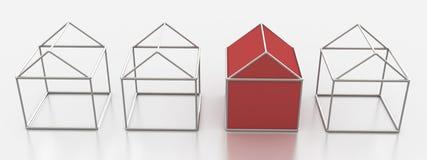 Metalldraht-Häuser Stockfoto
